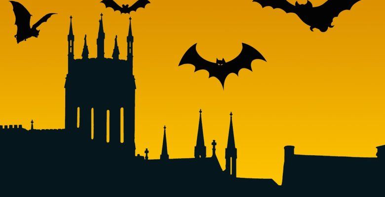 Halloween image with building and bats