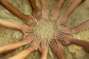 People's mandala - 12 hands sand multicultural