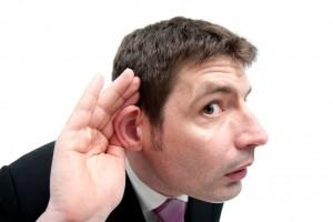 Listening man hear