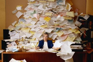 Overwhelmed busy office business