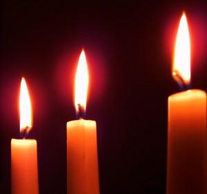 three candles light