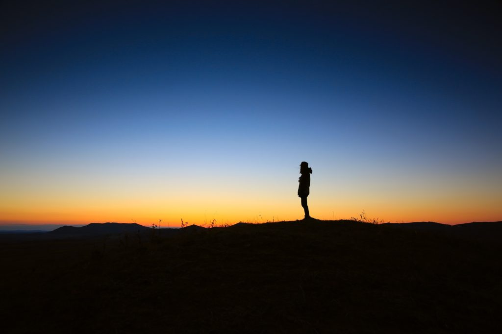 Sunrise sunset person