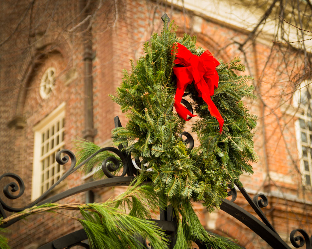 wreath outside church Christmas