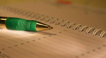 Calendar agenda pen notebook