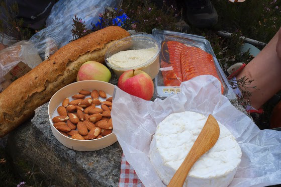 walk picnic food bread cheese
