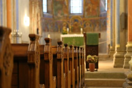 church interior pews