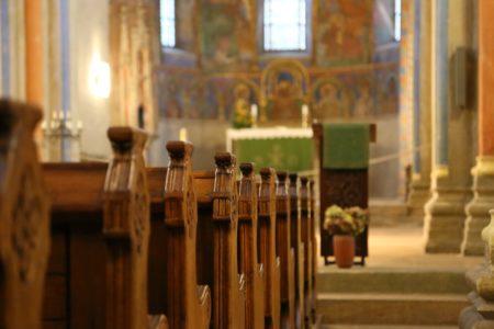 church interior pews