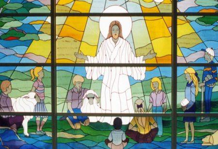 stained glass window Jesus children