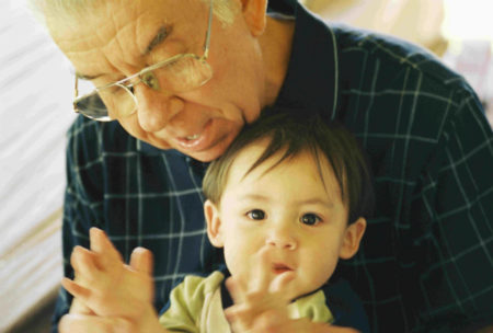 Grandfather and boy child generational