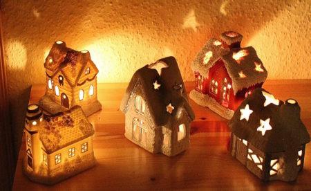 Christmas house candles light