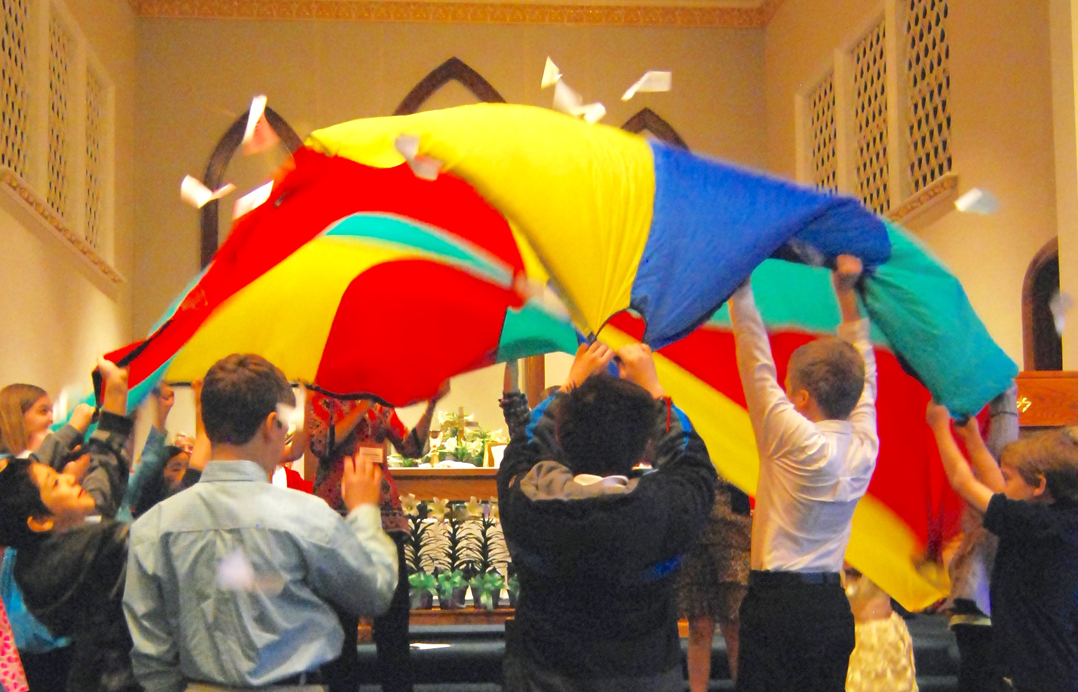 teach bible stories with a parachute