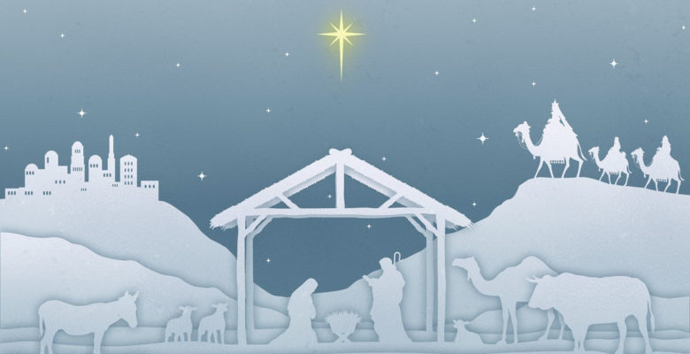 Grey and blue image of nativity scene with yellow star above.