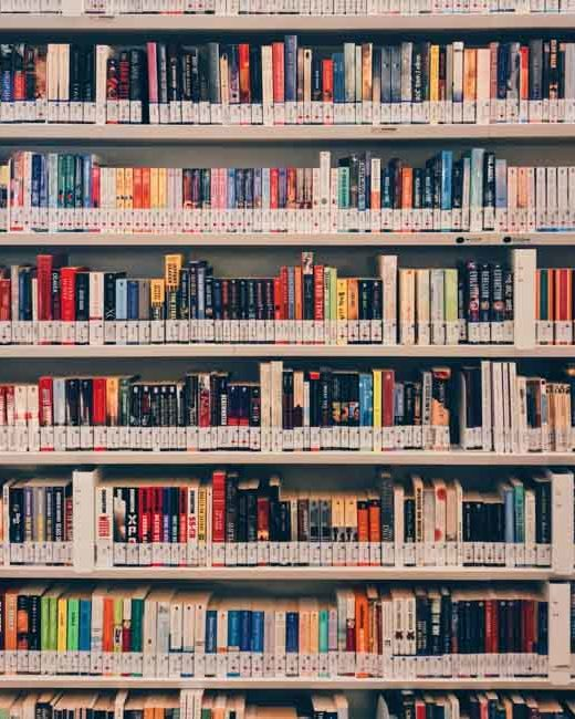 Shelf full of books of different colors