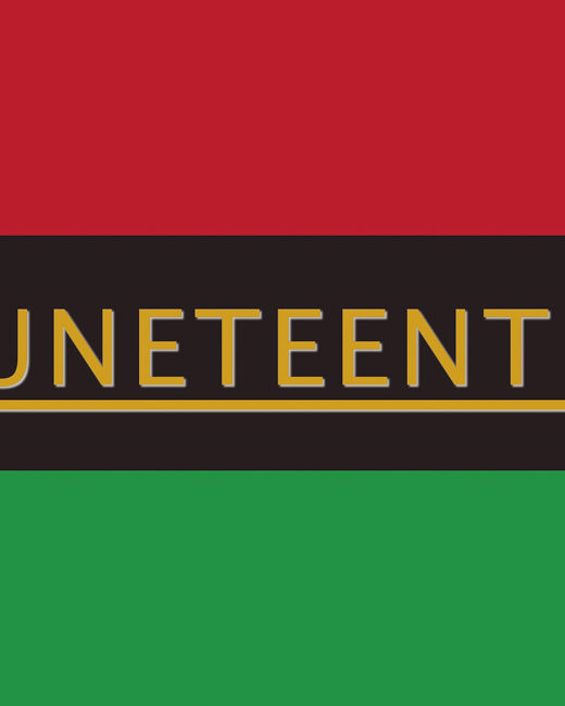 Red, black, and green flag with Juneteenth written in gold.