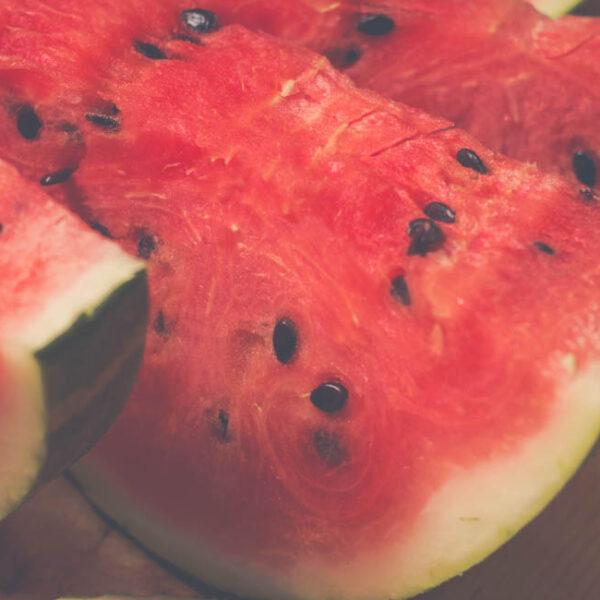 Three slices of watermelon.