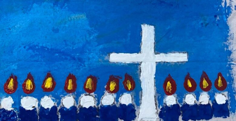 Mural made by children with blue background, white cross, and figures with flames on their heards.