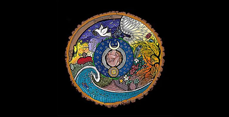 A circular icon of creation on a black background.