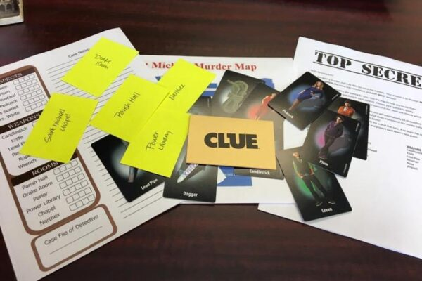 Materials from the board game Clue on a table.