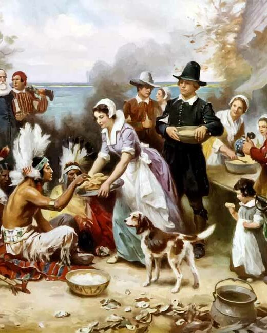 """Painting of the """"first thanksgiving"""" with pilgrims and indigenous people sharing food."""